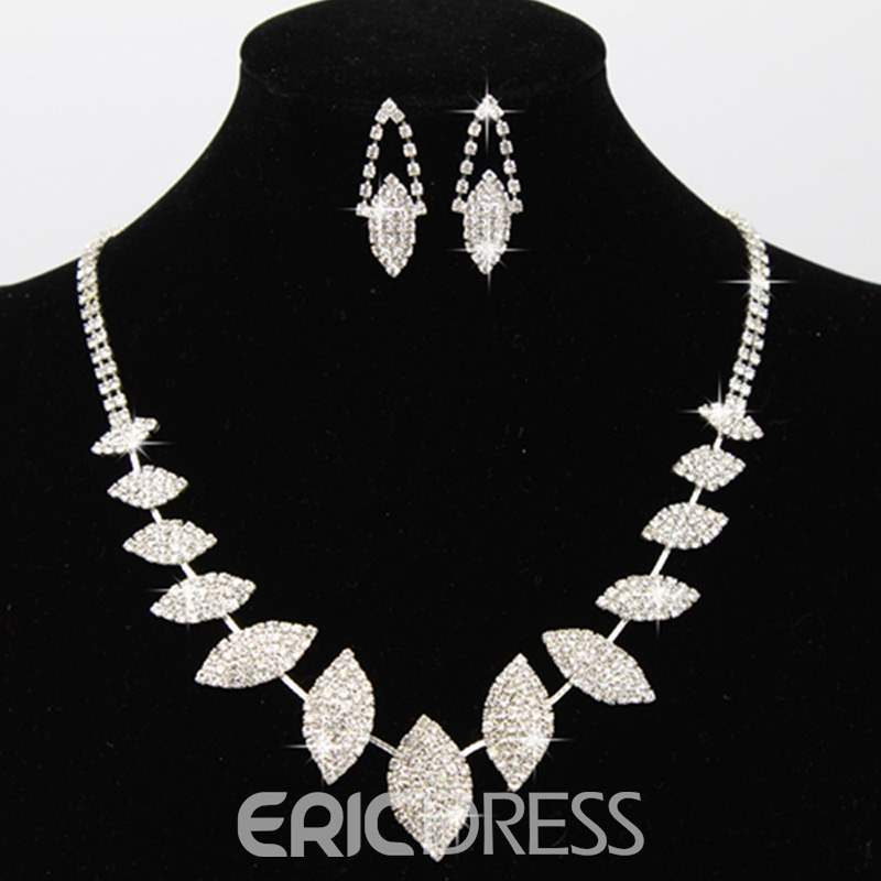 Ericdress Leaf Diamante Jewelry Set