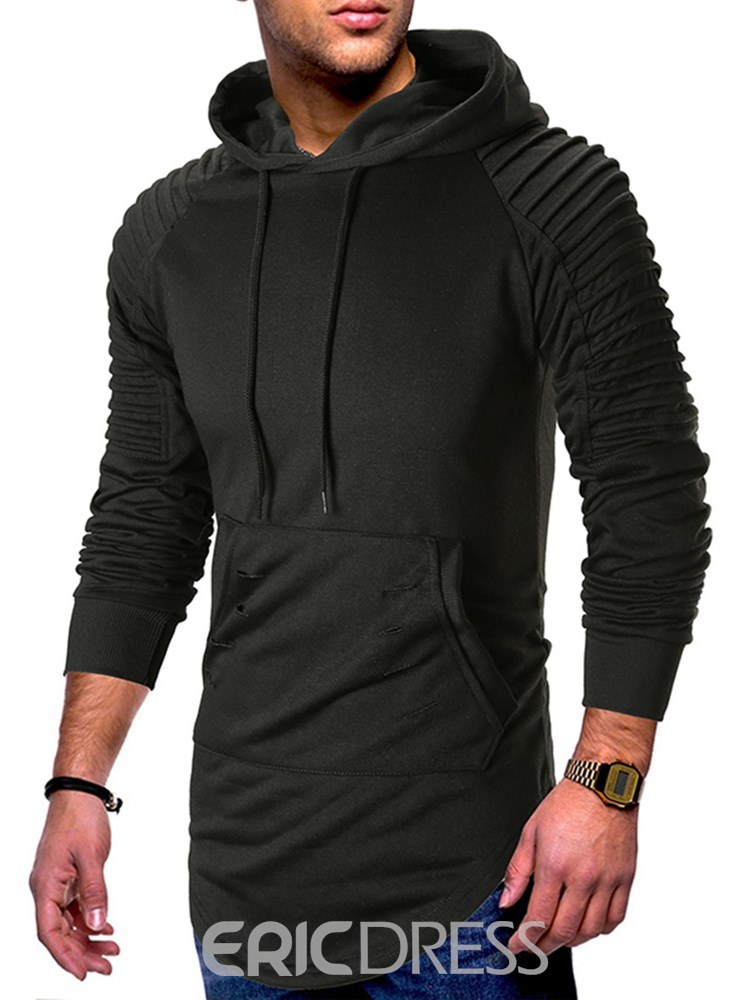 Ericdress Plain Asymmetric Pleated Mens Casual Hoodies