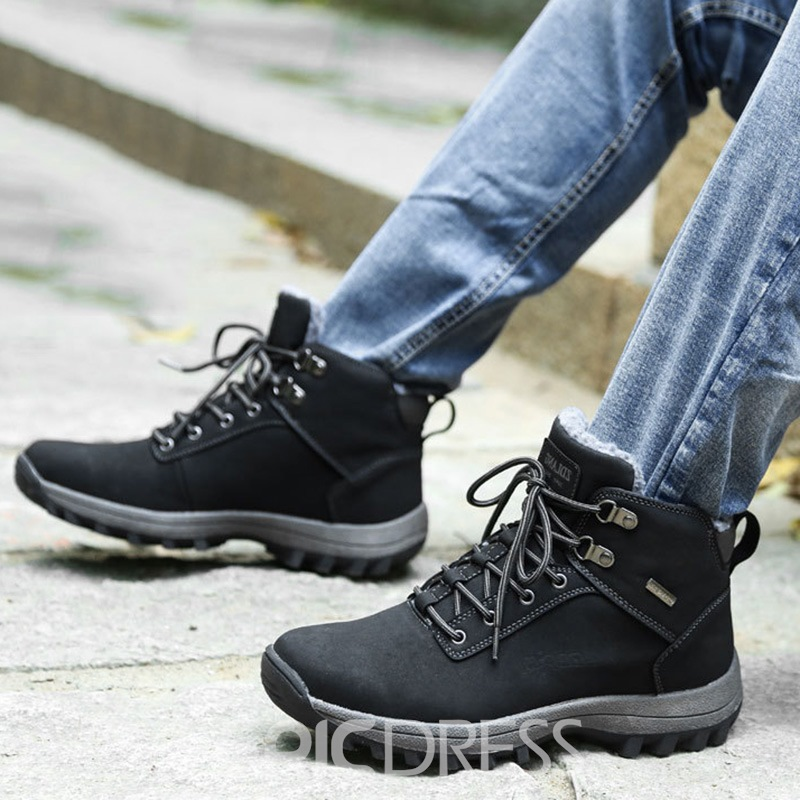 Ericdress Plain Round Toe Lace-Up Men's Work Boots