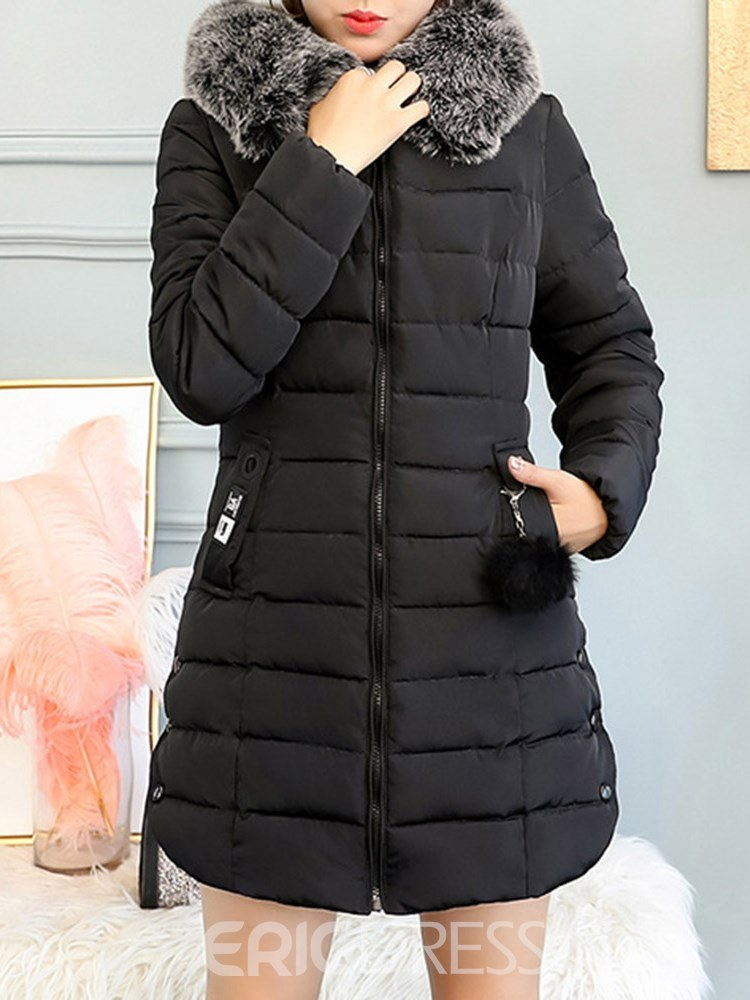 Ericdress Fur Collar Thick Hooded Mid-Length Coat
