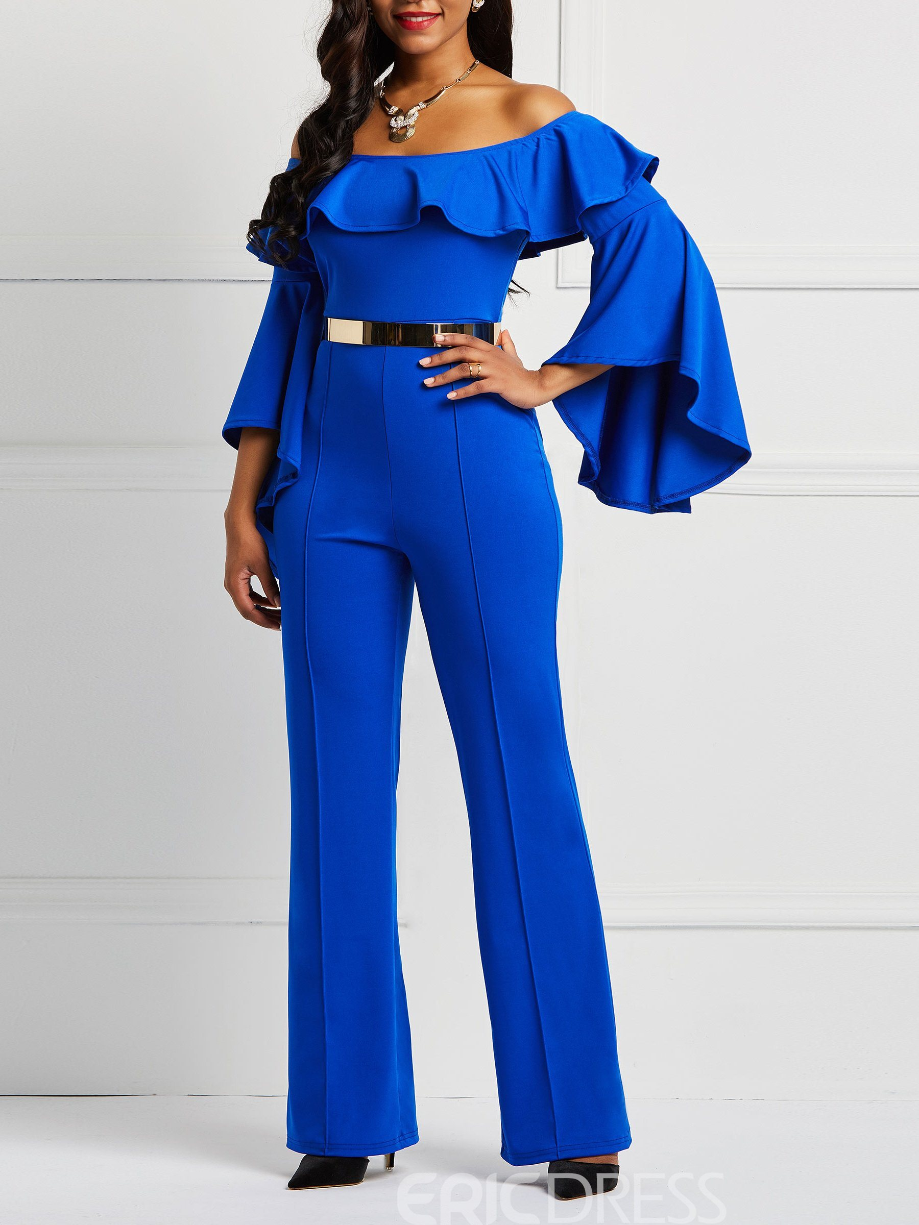Ericdress Ruffles Off-Shoulder Flare Sleeve Women's Jumpsuits(Without Waistband)