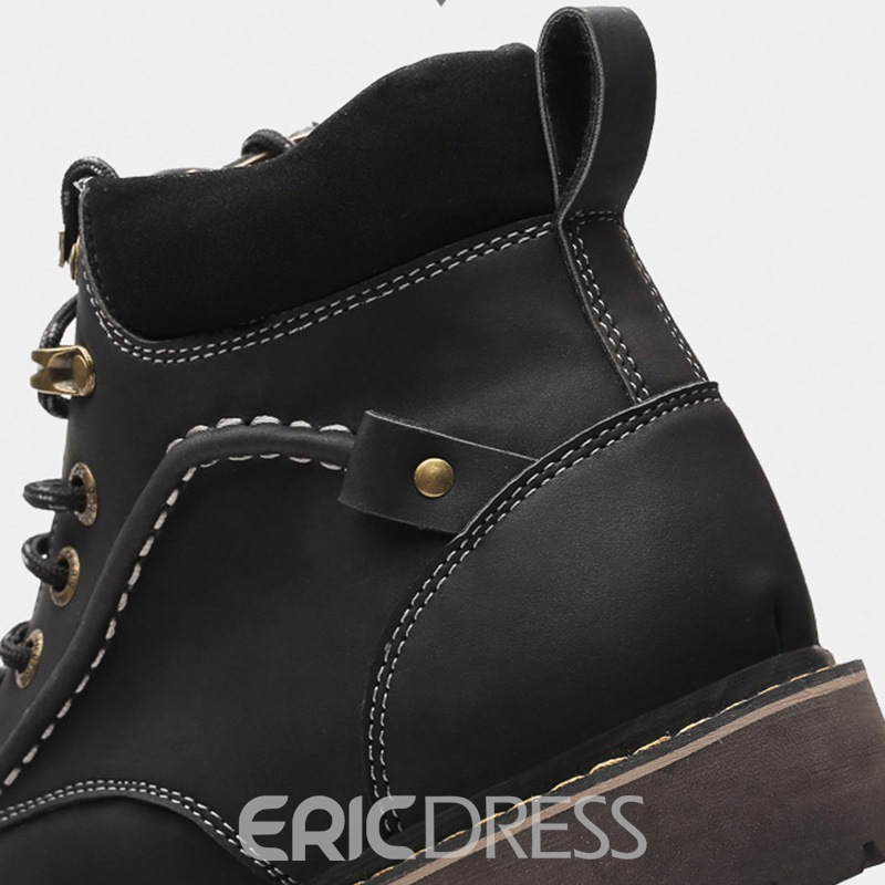 Ericdress Round Toe Lace-Up Men's Work Boots