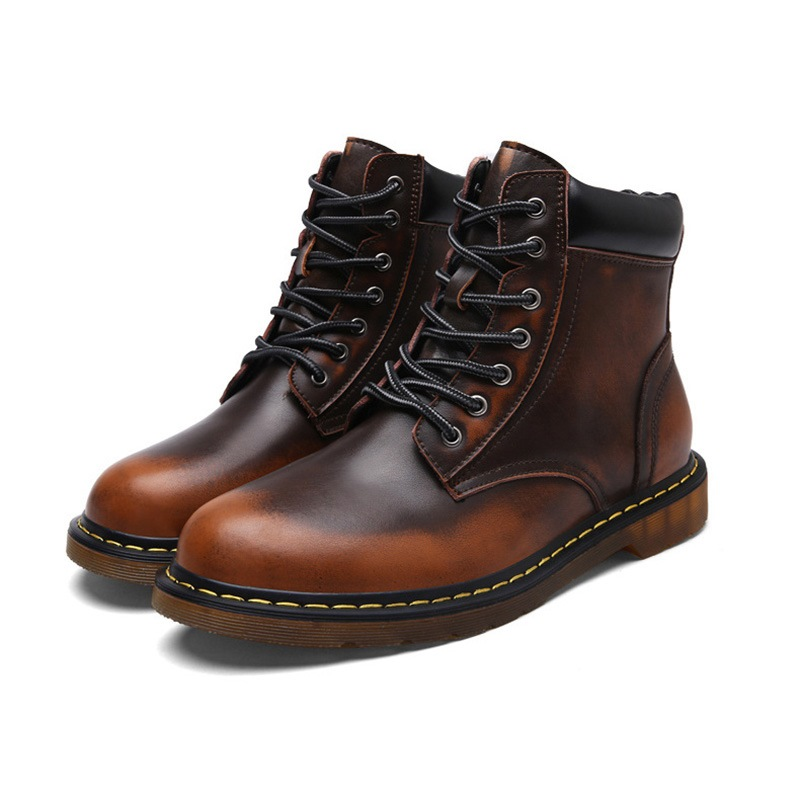 Ericdress Plain Round Toe Lace-Up Front Men's Martin Boots