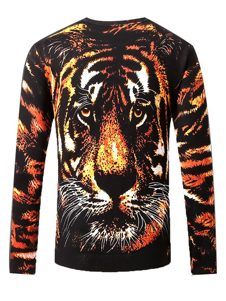 Ericdress Tiger Printed Scoop Mens Casual Sweaters
