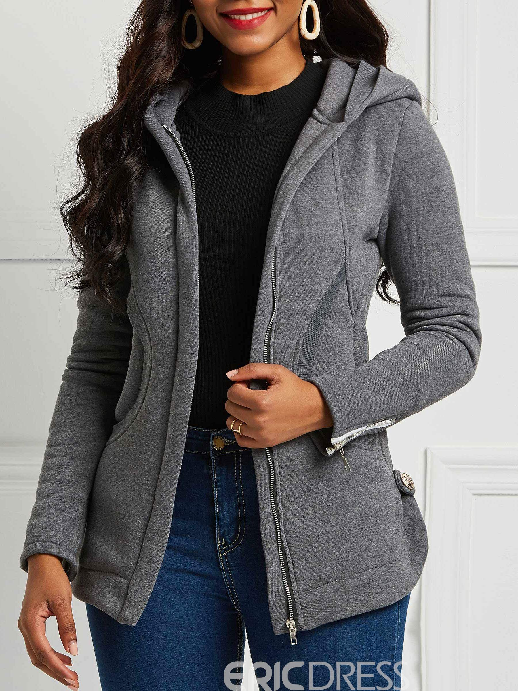 Ericdress Zipper Pocket Casual Hooded Jacket