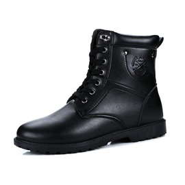 Ericdress PU Round Toe Lace-Up Front Men's Martin Boots