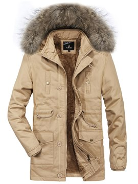Ericdress Plain Thick Fur Hooded Mid-Length Mens Winter Jacket