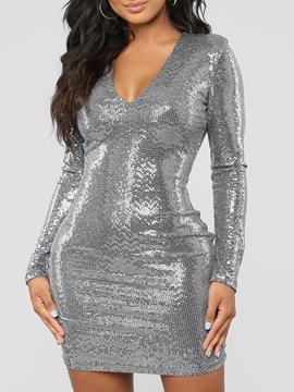 Ericdress Long Sleeves Bodycon Sequins Women's Dress