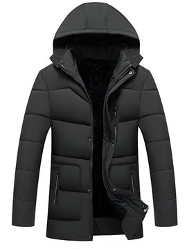 Ericdress Plain Hooded Zipper Pocket Thick Mens Winter Warm Coats