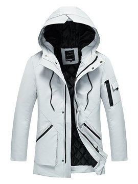 Ericdress Plain Thick Hooded Mid-Length Mens Winter Coat Jacket
