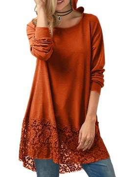 Ericdress Lace Casual Loose Mid-Length Long Sleeve T-shirt