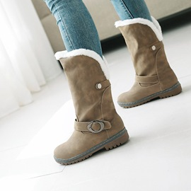 Ericdress Round Toe Slip-On Block Heel Women's Snow Boots