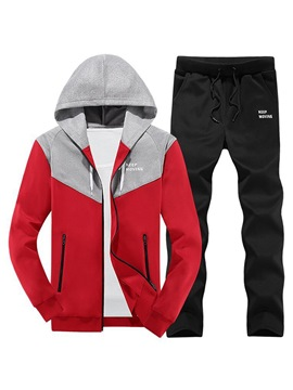 Ericdress Patchwork Color Block Hooded Mens Casual Sports Suits