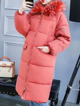 Ericdress Hooded Long Zipper Plain Long Sleeves Coat