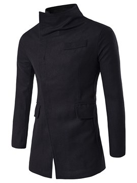 Ericdress Plain Stand Collar Mid-Length Mens Wool Coats