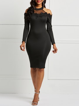 Ericdress Lace Stand Collar Cold Shoulder Bodycon Dress