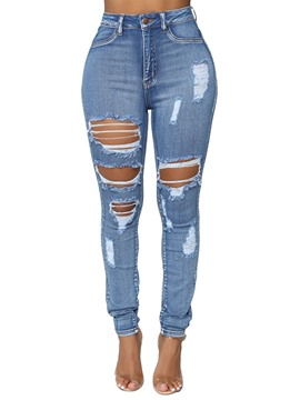 Ericdress Slim Ripped Plain Women's Jeans