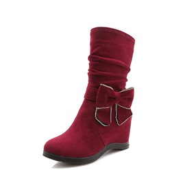 Ericdress Bowknot Hidden Elevator Heel Women's Calf High Boots