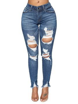 Ericdress Skinny Ripped Plain Women's Jeans