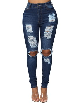 Ericdress Ripped Plain Slim Women's Jeans