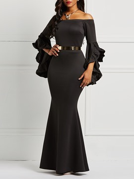 Ericdress Slash Neck Long Sleeve Ankle-Length Ruffles Bodycon Dresses