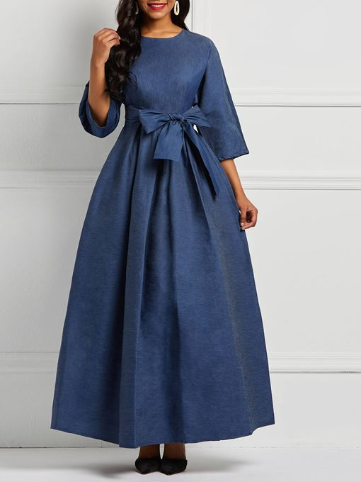 Ericdress Denim A-Line Floor-Length Plain Women's Dress