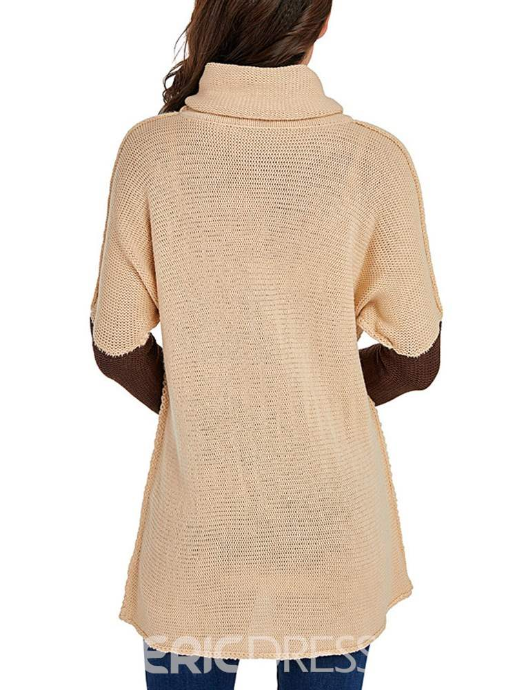Ericdress High Neck Color Block Casual Pullover Knitwear