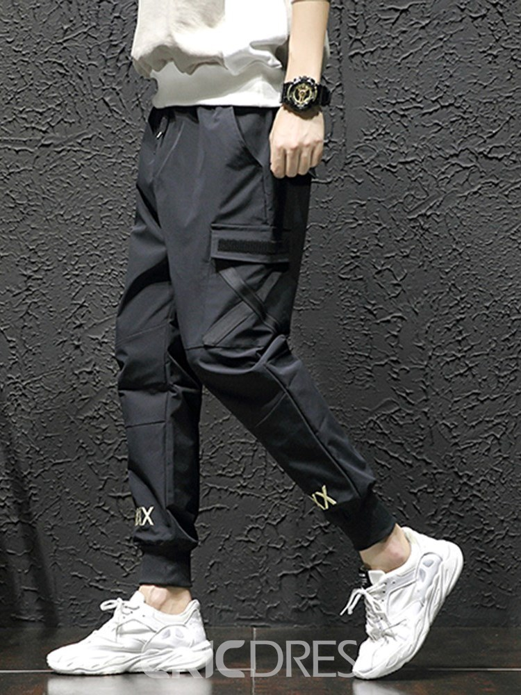 Ericdress Color Block Side Pocket Loose Mens Casual Pants