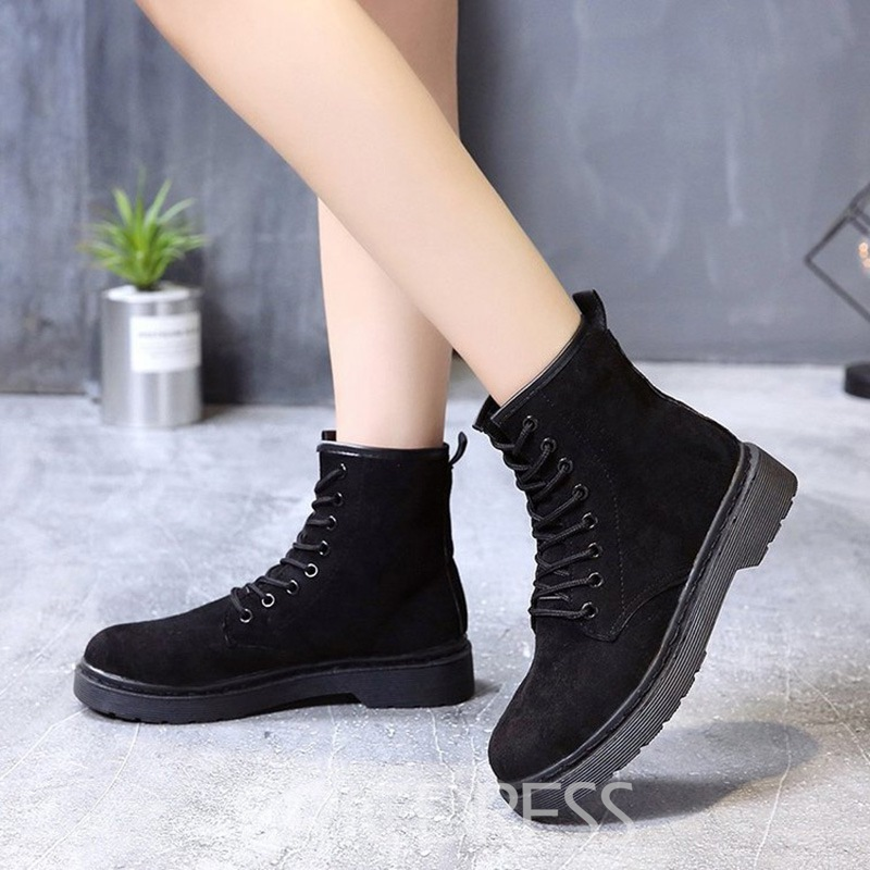 Ericdress Plain Round Toe Lace-Up Block Heel Women's Martin Boots