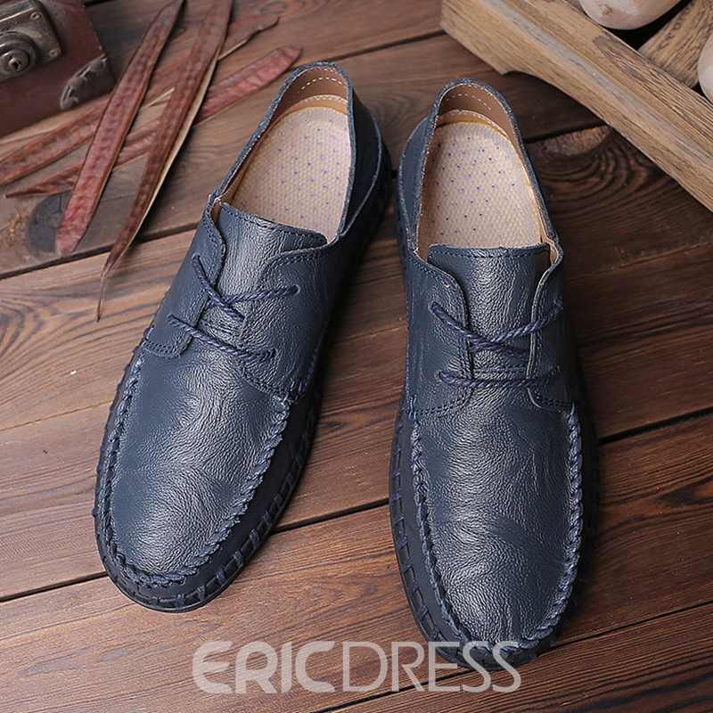Ericdress Plain Round Toe Lace-Up Men's Casual Shoes