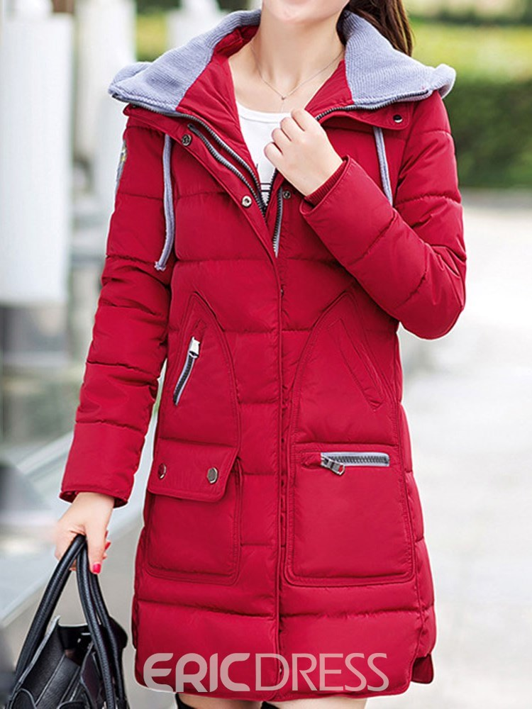 Ericdress Hooded Thick Zipper Patchwork Down Coat