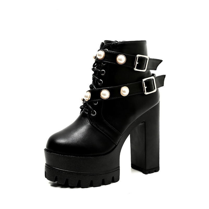 Ericdress Beads Side Zipper Chunky Heel Women's Martin Boots