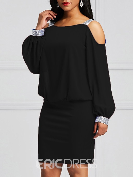 Ericdress Bodycon Cold Shoulder Lantern Sleeves Black Women's Dress