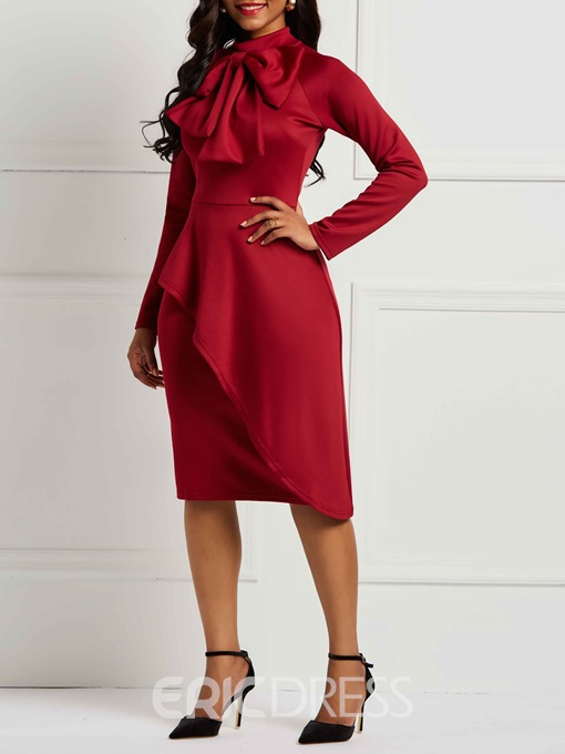 Ericdress Long Sleeves Bowknot Knee-Length Bodycon Dresses