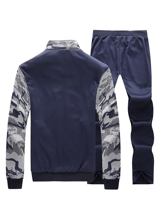 Ericdress Camouflage Color Block Zipper Mens Casual Sports Suits