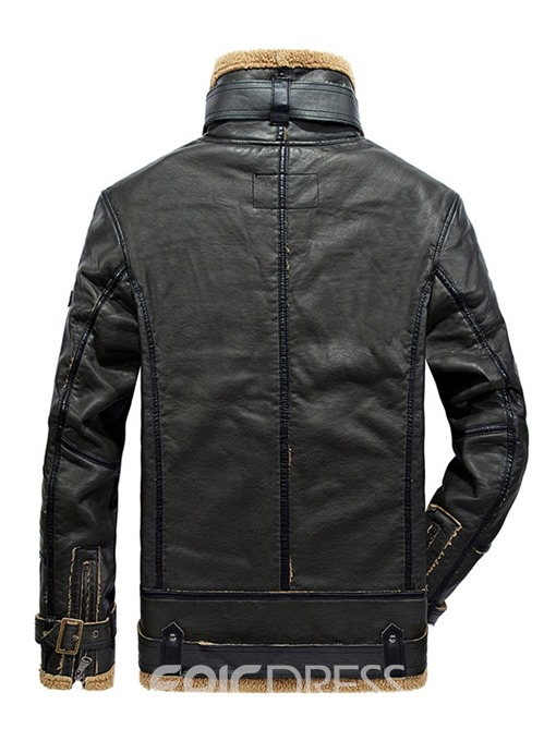 Ericdress Stand Collar Zipper Plain Mens Slim PU Leather Winter Jacket