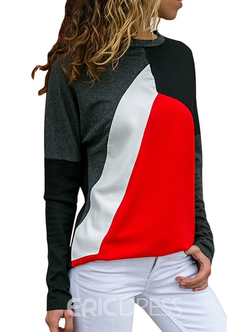 Ericdress Casual Scoop Color Block Patchwork Long Sleeve T-shirt