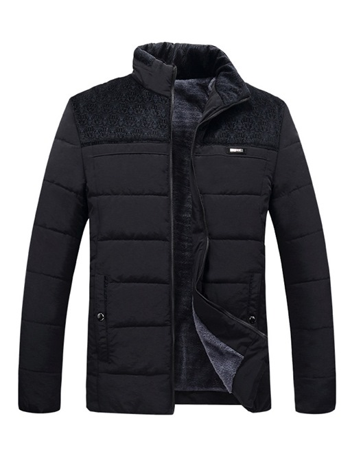 Ericdress Plain Patchwork Thick Mens Casual Winter Quilted Coats