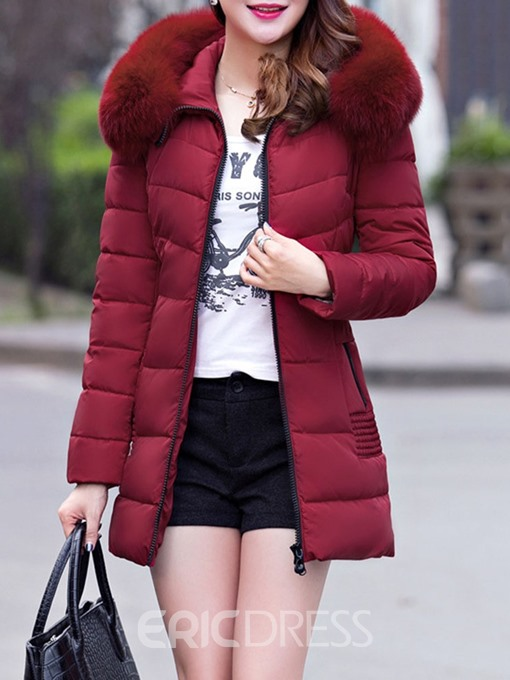 Ericdress Hooded Zipper Thick Plain Mid-Length Coat