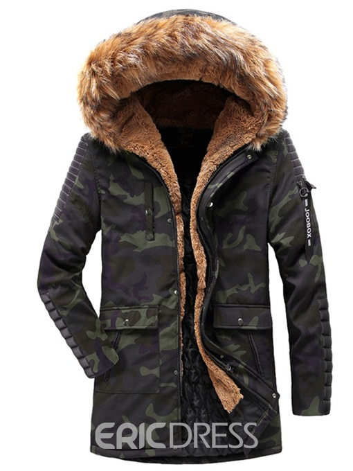 Ericdress Patchwork Camouflage Thick Hooded Mens Casual Winter Jacket