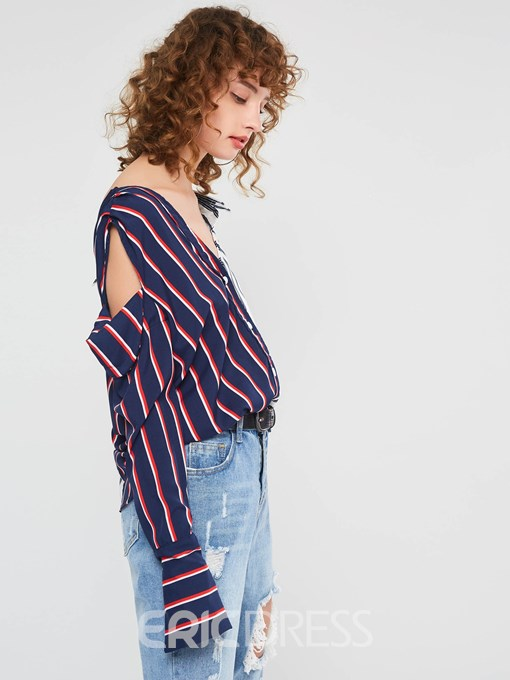 Ericdress V-Neck Stripe Backless Mid-Length Long Sleeve Blouse