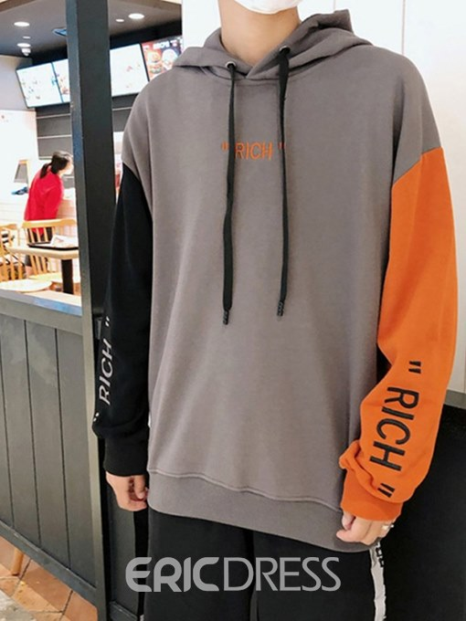 Ericdress Color Block Letter Printed Mens Casual Hiphop Hoodies
