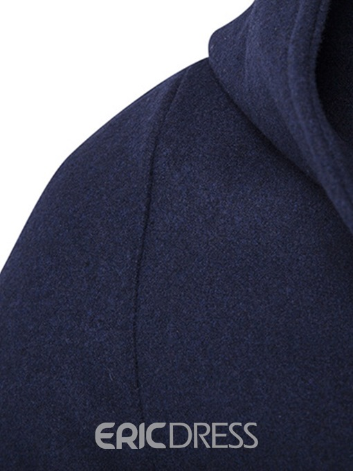 Ericdress Plain Hooded Double Breasted Mens Casual Wool Coats