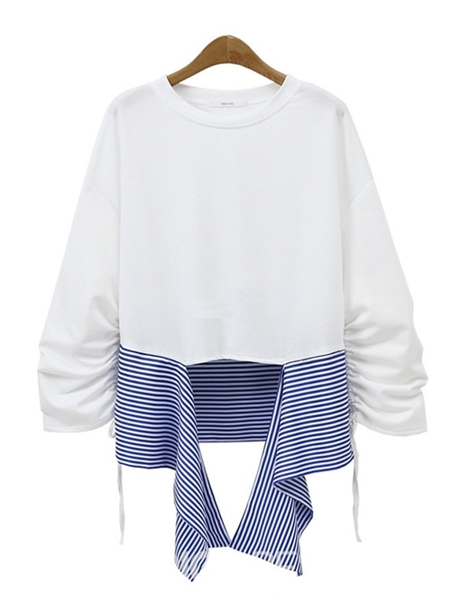 Ericdress Patchwork Round Neck Lace-Up T-Shirt
