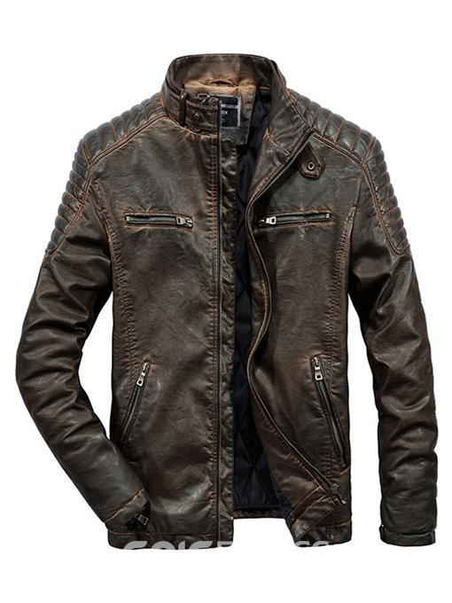 Ericdress Plain Pleated Stand Collar Mens PU Leather Winter Jacket