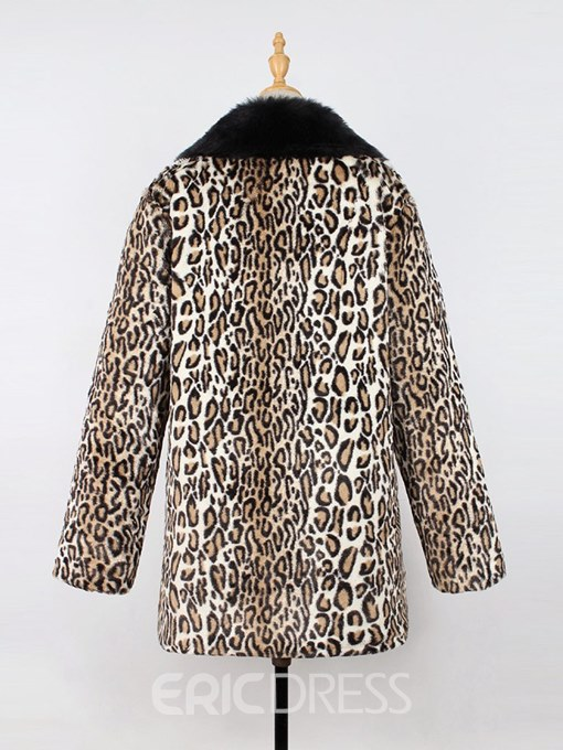 Ericdress Print Leopard Mid-Length Long Sleeves Coat