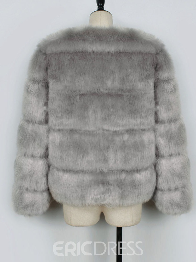 Ericdress Thick Plain Standard Faux Fur Long Sleeves Coat