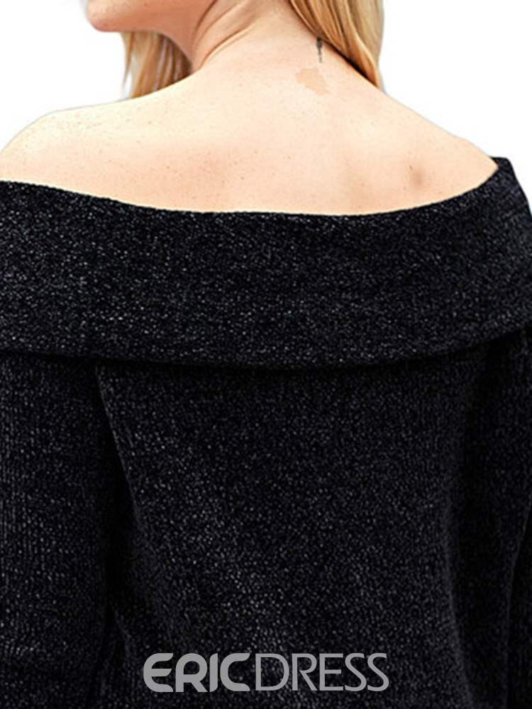 Ericdress Off Shoulder Plain Casual Slash Neck Knitwear