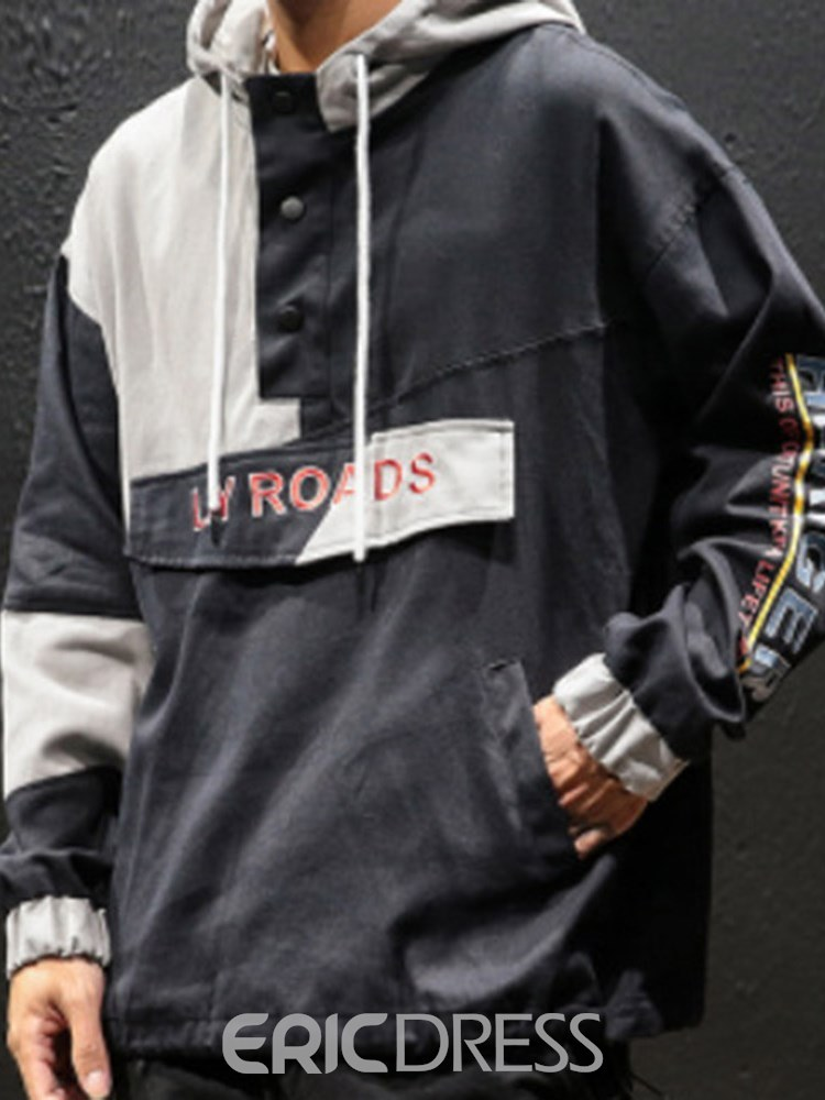 Ericdress Color Block Letter Printed Mens Hooded Casual Jacket