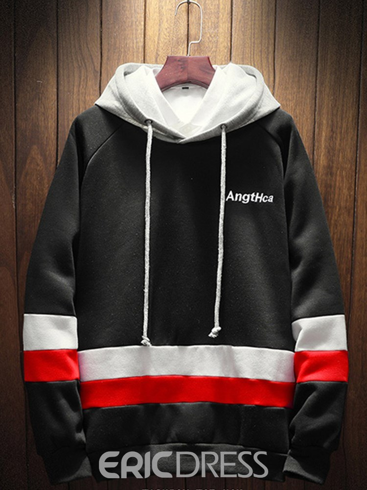 Ericdress Striped Color Block Mens Loose Casual Pullover Hiphop Hoodies